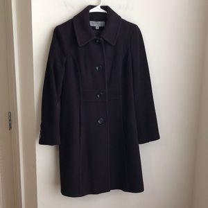 Anne Klein lambswool cashmere coat 2P purple/plum